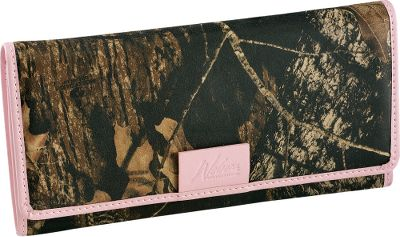 Entertainment This outdoor-inspired clutch wallet features rich, long-lasting 2-1/2-oz. cowhide thats heat-and-pressure printed in Mossy Oak Break-Up for a look that stands out and wont fade. It has 10 credit card slots, ID window, three full-length bill openings and a zippered security pocket. Pink trim. Imported. Dimensions: 7-1/2L x 3-3/4W x 3/4D. Camo pattern: Mossy Oak Break-Up. Size: One Size. Color: Pink. Gender: Female. Age Group: Adult. Pattern: Printed. Material: Leather. Type: Wallets. - $39.99