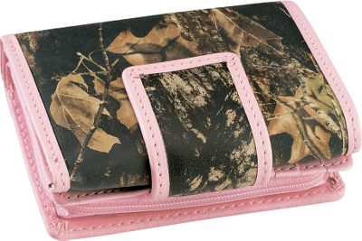 Entertainment This outdoor-inspired, tri-fold wallet is made of rich, long-lasting 2-1/2-oz. cowhide thats heat-and-pressure printed in Mossy Oak Break-Up for a look that stands out and wont fade. It features six credit card slots, an ID window, a full-length bill divider and a zippered coin purse divider. Pink trim. Imported. Dimensions: 3-1/2L x 4-1/4W x 1-1/2D. Camo pattern: Mossy Oak Break-Up. Size: One Size. Color: Pink. Gender: Female. Age Group: Adult. Pattern: Printed. Material: Leather. Type: Wallets. - $39.99