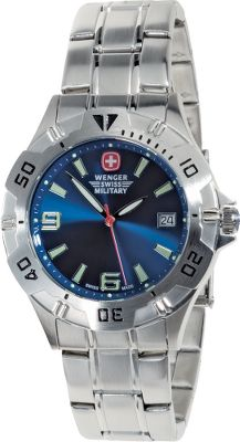 Crafted with legendary Swiss precision, these analog watches are modeled after those used by that nations military. Theyre water-resistant to 325 ft. and have a unidirectional rotating bezel to measure elapsed time. Luminous hands and sweep second hand recharge after only seconds of exposure to light.Available: Stainless Steel Strap/Blue face - $159.99