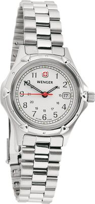 Entertainment Tough enough for life in the military, yet stylish enough for a fashion-conscious lady. A stainless steel screw-on case back ensures water resistance to 100 meters. Precision Swiss quartz movement keeps time with great accuracy, and the display also includes the date. Markings on the watch face show military time. The hands and markers are luminous for easy viewing in low light. The bracelet is a three-link stainless steel type with divers buckle and safety clasp. - $179.99
