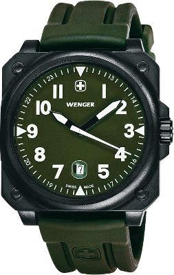 The AeroGraph matches the precision and function of Wenger's legendary Swiss Army Knives. It features Swiss quartz movement and a stainless steel case that's water-resistant down to 330 ft. There's also a magnified date display, luminous hands and hour markers and a scratch-resistant mineral crystal. Green dial with matching green silicone-rubber strap.Case diameter: 42mm. - $299.99