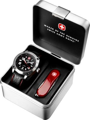 Camp and Hike Great for any outdoor enthusiast, this Gift Pack includes the classic styling of the Outback Watch and the functional design of the red Evo 81 knife.Includes: Outback Watch The black leather strap is accented with red stitching for a sharp look. A durable stainless steel case protects the fine Swiss craftsmanship. Date display. Water-resistant to 100 meters. Case diameter: 44mm. Evo 81 Knife Comes with all the daily-use tools that have made Swiss Army Knives famous. You get a 2.5 blade, scissors, nail file/cleaner, tweezers and a toothpick. Red ergonomic scales for a comfortable grip. Weight: 0.7 oz. Gender: Men's. Type: Analog Watches. - $124.88