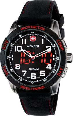 Active outdoor enthusiasts rely on various tools during their travels; this watch integrates a compass to keep them on course. Specialized Swiss movement keeps precise time. Luminous numerals and red LED digital day, date, analog and digital time and compass. Stainless steel case with a brown leather strap. Water resistant to 100 meters.Case diameter: 43mm. Gender: Men's. Type: Digital/Analog Watches. - $395.00