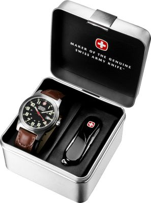 Camp and Hike Great for any outdoor enthusiast, this Gift Pack includes the Field Watch and black Evo 81 Knife. Kit includes: Field Watch utilizes the quality craftsmanship and reliability the Swiss are known for. The stainless steel case and brown leather wrist strap provide durability for active lifestyles. Day date display. Luminous hands, numerals and markers. Water-resistant to 100 meters. Case diameter: 41mm. Evo 81 Knife comes with all the daily-use tools that have made Swiss Army Knives famous. You get a 2.5 blade, self-sharpening scissors, nail file/cleaner, tweezers and toothpick. Black ergonomic scales for a comfortable grip. Blade length: 2.5. Overall length: 4.25. Closed length: 2-1/2. Weight: 0.7 oz. Color: Stainless steel. Gender: Male. Age Group: Adult. Material: Leather. - $199.99