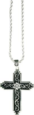 Entertainment A Western-inspired cross with silver filigree and rhinestone accents. Tarnish protection keeps silver looking like new. Made of brass alloy. Includes 18 chain. Pendant Length: 1-7/8W x 2-1/2L Size: 18. Color: Silver. Gender: Female. Age Group: Adult. - $19.88