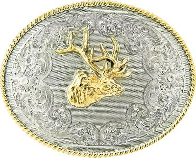 Entertainment Add a distinctive western outdoor edge to your apparel with this silver and gold-plated belt buckle. Durable, scratch resistant electroplate finish. Bull elk and scrimshaw accents offer a unique look.Dimensions: 3W x 4L. - $29.99