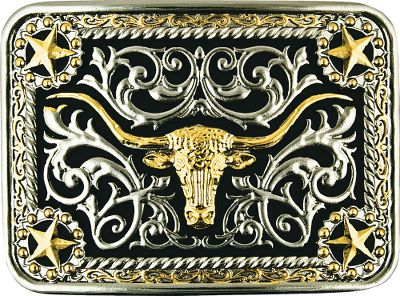 Entertainment When you walk through the door wearing this two-tone silver and gold electroplate Longhorn Belt Buckle, there will be no doubt who has Western flair.Dimensions: 3.5L x 2.5W. - $39.99