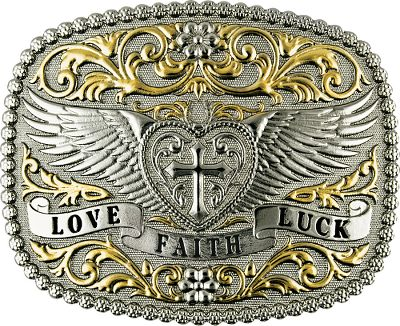 Entertainment Accent your outfits with a little love, faith and luck. Attractive buckle is crafted of zinc alloy with decorative silver and gold electroplate.Dimensions: 3-1/2W x 2-3/4L. Type: Belt Buckles. - $39.99