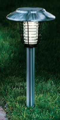 Camp and Hike Illuminate the walkways, or get rid of bugs with these two-in-one lights. Choose the bug-killing mode to rid your yard of pesky insects (up to 800-sq.-ft.), or choose the solar lights for ambience. Stainless steel construction (camp lantern is made of aluminum). Two purple LED bulbs. Two-piece lights include pole and ground stake. Imported.Available: Stainless Steel Two-Piece Bug Light, Copper Two-Piece Bug Light, Bronze Bug Lantern. - $29.88