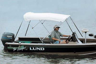 Motorsports Give your boat the convenience of a Bimini top that looks like it came from the boat dealer, without spending manufacturer prices. Made from rugged, weatherproof 5.7-oz. blue, or white Sharkskin, this economically priced top will stand up to punishing rain, sun and spray, ensuring years of use. The 7/8 aluminum tubing features a bright-dipped anodized finish, rugged nylon fittings and double-wall construction for added strength. Quick takedown design permits easy storage when not in use. Color: Blue. - $124.88