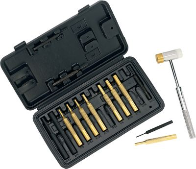 A great set of tools for driving pins, drifting sights and other gunsmithing applications. Includes a polymer/brass combination hammer, eight precision brass punches, four steel punches, two plastic punches and a handy molded case. - $29.99