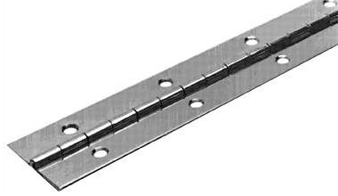 Motorsports These custom-fabricated hinges are designed for use on hatch doors, rod lockers, livewell lids and dry storage. Both are 6-ft. long and have 1-1/4 open widths. The aluminum hinges have 3/16 holes punched on 4 centers. The stainless steel hinges holes are drilled and counter-sunk on 2 centers. Available: Aluminum, Stainless Steel. Color: Stainless Steel. Type: Continuous Hinges. - $26.99