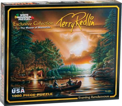 Fishing Theres nothing quite like the brilliant hues and heart-warming scenes captured in a Terry Redlin print to add a bit of warmth to your home. And theres no better way to pass a cold winter day spent inside than putting together one of these nostalgic puzzles featuring popular Redlin prints. All are 1,000 pieces and measure 24 x 30 when assembled. For Ages 10+. Available: Morning Surprise: On a quiet autumn morning, the children have begun their chores. Suddenly, the silence is broken by five mallards flying low through the trees and the children look up in hopes of catching a glimpse of the excitement. As quickly as it came, the moment passes and all that can be heard is the rotating squeak of the nearby windmill. Morning Warmup: As dawn breaks, a canoe-topped sedan and a trailer loaded down with decoys chug up to Leslies Blacksmith Shop and Sports Store. Friendly farmers in bib overalls and fancily clad townspeople huddle together in a merry group to warm themselves beside the glowing forge. Sunday Morning: On this serene morning, all of Gods creatures are gathering. The humans arrive in cars and buggies. Deer slowly stir and cows amble toward their morning drink. Suddenly, the calf becomes aware of the strangers across the stream and the animal kingdom slowly begins to stir. High above the church steeple, startled by the ringing bells, the pigeons scatter as both the cows and deer go about their business. Evening Rendezvous: Visitors have already reached the rendezvous point and set up camp. Now, the remaining family members take one last canoe ride, gliding gracefully beneath the falling sun. Winter Wonderland:On this magical winter evening, the wind is still and the temperature mild enough for kids to fashion both snowmen and snow forts. - $14.99