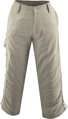 Camp and Hike Put on these super-durable capris and go hiking, boating, fishing in style. Built of adventure-tested 100% nylon ripstop. Equipped with comfort-fit side elastic and articulated knees for extra mobility. Zip-secure pocket on back and at thigh. UPF rating of 30. Drawcord cinch at bottom hem. Imported.Inseam: 22. Sizes: S-XL. Colors: Stone, Breen (not shown), Caviar (not shown). - $19.88
