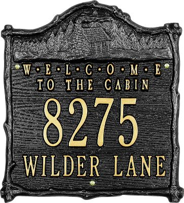 Camp and Hike Enhance your curb appeal with this elegant, artistic address sign. Weather-resistant finish withstands the elements for years of outdoor display. Handcrafted from recycled, rust-free aluminum. Personalize it with your address. The first line holds up to five 3 characters. Line two holds up to 12 1-1/4 characters. Allow two weeks for shipping; or four to eight weeks shipping for personalized signs. Made in USA. Dimensions: 12 x 11 . Available: Black, Gold, Copper. Color: Black. - $69.99