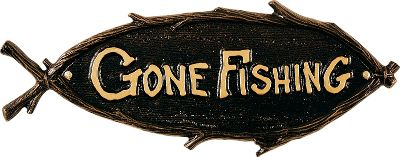 Fishing Decorate your home-away-from home with an artistic interpretation of your favorite outdoor activity. Weather-resistant finish withstands the elements for years of outdoor display. Handcrafted from recycled, rust-free aluminum. Allow two weeks for shipping. Made in USA. Dimensions: 15-1/2 x 6 . Colors: Black, Gold, Copper, Green. Color: Black. Type: Signs. - $44.99