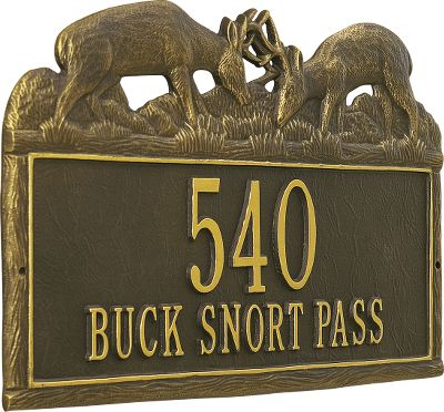Camp and Hike These stunning custom-made aluminum address signs were originally hand-carved out of wood. Each sign is handmade - one at a time. They are hand-poured into a sand-cast mold. After cooling, the plaques are hand-polished and hand-painted in bronze and gold for a powder-coated, rust-resistant finish. Includes two brass wood screws. Two personalized lines of characters (uppercase only). Line 1: 5 characters; Line 2: 16 characters. Available: Buck (15-3/4 W x 10-1/2 H), Elk (15-3/4 W x 10-1/2 H), Pine Cone (16 W x 9 H), Aspen (16 W x 9 H). Color: Bronze. Type: Signs. - $89.99