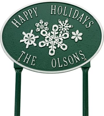 Camp and Hike Share your joy for the holidays with one of these heart-warming outdoor signs. Hand-cast from aluminum and hand-painted with a weather-resistant finish. Personalize the Snowflake sign with up to 16 characters on each line. Includes two 18 lawn stakes. Allow 2-3 weeks for delivery. Made from recycled aluminum in the USA. - $89.99