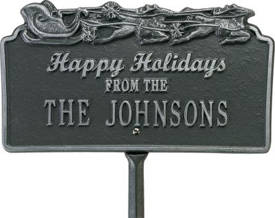 Camp and Hike Share your joy for the holidays with one of these heart-warming outdoor signs. Hand-cast from aluminum and hand-painted with a weather-resistant finish. Personalize the Sleigh sign with one line of up to 17 characters. Includes one 18 lawn stake. Allow 2-3 weeks for delivery. Made from recycled aluminum in the USA. - $69.99