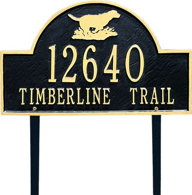 Camp and Hike This handsome lawn sign is hand-cast from rust-free, recycled aluminum and painted with a weather-resistant finish to withstand the elements. Holds two lines of text. Comes with brass screws for mounting. Dimensions: 9-1/4 H x 15-3/4 W. Color: Black/Gold. Available: Duck, Retriever (shown), Buck. Color: Black/Gold. Type: Signs. - $119.99
