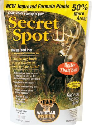 Hunting Secret Spot needs no tilling equipment to plant. A blend of 15 varieties of annuals with incredible attracting power, created for remote areas that only you and the deer know about. Just clear a small section of land and score the ground with a hand rake to prepare for planting. It works great in any area that receives at least 2-4 hours of sunlight per day. A 4-lb bag will seed 4,500 sq. ft. Protein content up to 36% should be planted no greater than 1/4 in a soil with a pH from 6-7.0. Grows best in soils that hold moisture or are well-drained. An ideal annual plant for small openings or along meadow edges. Recommended fall plant that deer will use well into winter. Available: 4 lbs. plants 4,500 sq. ft. 10 lbs. plants 11,250 sq. ft. Size: 4-LBS.. Color: Clear. - $12.99