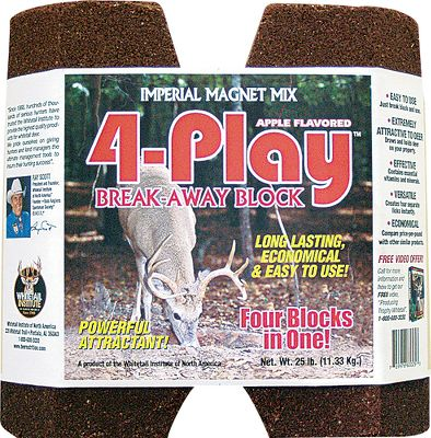 Hunting The most innovative deer block on the market, the 4-Play Break-Away Block can be used as a single 25-lb. mineral block or broken at the connection lines for coverage of four separate areas. The richly fortified vitamin and mineral content increases the health of your herd and promotes maximum survival and growth rates. And, since it is priced much less per pound than other mineral licks on the market, 4-Play also is the economical choice to draw deer on your property and keep them coming back day after day. Available: 25-lb. block - $29.99