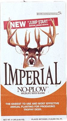 Hunting Imperial No-Plow Wildlife Seed Blend is the easiest, no-fuss, no-bother way to give your deer herd essential protein during antler growing months. Seeds can be sown without plowing and with minimal or no soil preparation. It also benefits turkeys, doves, quail, ducks and other game animals. Composed of high-protein (up to 36%) attractive annuals that deer will use in all seasons. Included in the blend is a hardy winter forage grass, clovers and canola. Ideal pH for this plot is 6-7.0 and can be planted in the spring or fall. Grows best in soils that hold moisture or are well-drained in areas that receive 3-4 hours of sunlight per day. 16-20 lbs. per acre recommended. Available: 5 lbs. plants 1/4 acre 9 lbs. plants 1/2 acre 25 lbs. plants 1-1/2 acres Size: 5 LB. Type: Food Plots. - $19.99