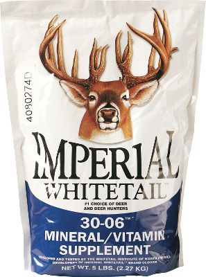 Hunting This 30-06 Mineral/Vitamin supplement supplies needed minerals and vitamins critical to the overall growth, development and reproduction of deer. It maximizes weight gain, and is easy to use and maintain. Vital macro and trace minerals include: calcium, phosphorus, magnesium, potassium, zinc, copper, iodine, iron, selenium, manganese, cobalt, vitamin A, D and E. Mix is scientifically formulated in amounts to maximize digestion and utilization. Available: 5-lb. bag Color: Copper. Gender: Male. Age Group: Adult. - $12.99