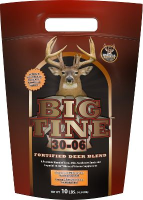 Hunting Big Tine is the only supplement to incorporate the Whitetail Institutes proven Imperial 30/06 mineral/vitamin blend. It contains 11 vital minerals that are key to antler growth. A healthy dose of vitamins A, D, and E plus, powerful antioxidants help control disease and improve the longevity of the herd. It also has essential Omega-3 and Omega-6 fatty acids, which have been shown to support a healthy immune system and protect against heart disease. Powerful attractants, irresistible aroma and delicious flavor draw deer from a distance and keep them in the area. Now in a convenient, easy-to-carry pouch. Available: 10-lb. bag,40-lb. bag. Size: 40 LB. - $17.99