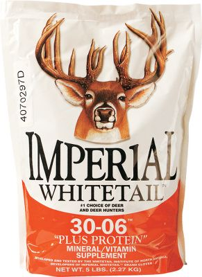 Hunting 30-06 mineral products provide the principal minerals and vitamins deer need. The Plus Protein formula adds a 10% protein boost. Its a strong attractant to draw deer from long distances. Works well as a stand-alone product for smaller parcels of land. Available: 20 lb. bag. Gender: Male. Age Group: Adult. - $29.99