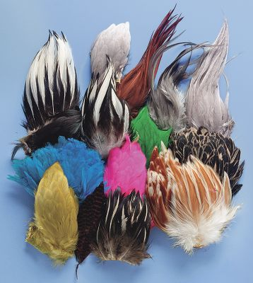 Flyfishing This economical compilation of useful fly tying feathers contains a wide variety of feather types in varying colors. Saddles, capes, and necks can all be found in this assortment. These feathers will be perfect for tying buggers, soft hackles, saltwater flies, or other streamer patterns. Ideal for beginners or experienced tiers that want to expand their pool of materials. Type: Feathers. - $19.99