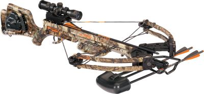 Hunting TenPoint has a complete line of crossbows. Lightweight with a unique, cored semi-skeleton stock design, this crossbow has a riser and limb assembly based on the exclusive Compact Limb System. It features a 180-lb. draw weight and a 12.37 power stroke, making it extremely easy to cock, yet capable of producing bolt speeds up to 300 fps. Durable aluminum CNC-machined riser and pockets are of superior quality, engineering and strength. Powertouch trigger technology delivers a smooth, quiet 3-12-lb. pull, while an ambidextrous DFI dry-fire inhibitor is one of the best safeties in the industry. Made in USA.Power stroke: 12.37.Draw weight: 180 lbs.Length: 37.75.Width: 20.75.Weight: 7 lbs.Camo pattern: Mossy Oak Break-Up Infinity.Raider Crossbow Package includes: crossbow, TenPoint 3X Multi-Line scope, built-in ACU-52 self-retracting rope-cocking system, Wicked Ridge instant-detach quiver, three Wicked Ridge aluminum bolts and Wicked Ridge embroidered sling. IBO Speed (fps): 326-350. - $599.99