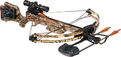 Hunting TenPoint has a complete line of crossbows. A full-featured crossbow upgraded for 2012 with an all-new, power-tuned assembly. CNC-machined risers and pockets for superior strength and quality. Cored, semi-skeletal stock reduces weight without compromising strength, resulting in a lightweight and powerful crossbow. The ACU-52 rope-cocking system makes reloading a breeze, and retracts automatically when not in use. Ambidextrous safety for right- and left-hand shooters. Powertouch trigger with a smooth, quiet 3-1/2-lb. pull. DFI dry-fire inhibitor. Integrated swivel studs for easy attachment of included sling. 3x scope provides accuracy at long ranges.Speed: up to 315 fps.Power stroke: 12.25.Draw weight: 180 lbs.Length: 38.Width: 25.25.Weight: 7 lbs.Camo pattern: Mossy Oak Break-Up Infinity.Invader Package includes: crossbow, TenPoint 3X Multi-Line scope, integrated ACU-52 self-retracting rope-coking system, Wicked Ridge quiver, three Wicked Ridge aluminum bolts and Wicked Ridge embroidered sling. IBO Speed (fps): 301-325. - $399.99