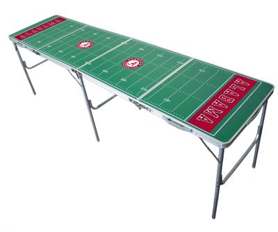 Camp and Hike The ultimate table for tailgating and table tennis. Great for outdoor barbeques, sports and family functions. This 8L x 2W x 30H table provides an extra 2-ft. to a standard-style table. The surface represents a football field. Simply fold up the table, grab the handle and go. Table converts to a portable tennis table with a net that secures to the sides for when food is cleared. Available: Alabama, Arizona, Arizona State, Arkansas, Auburn, Boise State, Boston College, Clemson, Michigan, Colorado, UConn, Duke, Florida, Florida State, Georgia, Georgia Tech, Illinois, Iowa, Iowa State, Indiana, Kansas, Kansas State, Kent State, Kentucky, Louisville, Maryland, Miami, Michigan State, Minnesota, Mississippi State, Montana, North Carolina State, Nebraska, Northwestern, Ohio State, Oklahoma, Ole Miss, University of Oregon, Penn State, Pitt, Purdue, South Carolina, Southern Mississippi, Syracuse, Tennessee, Texas, Texas AM, Texas Tech, UCLA, North Carolina, Utah, Vanderbilt, Virginia, Virginia Tech, Wake Forest, Washington, Washington State, West Virginia, Wisconsin, Louisiana State University. Type: Outdoor Games. Alabama. - $139.99