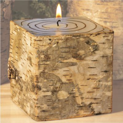 "Capture the romantic feel of a log in the fireplace in miniature with these long-burning candles. Choose between natural birch bark candles complete with tree rings, or the rustic firewood look of the twig candles. This 3-1/2"" candle offers up to 50 hours of burning time and is made of unscented paraffin wax. Available: Birch Twig - $14.99"
