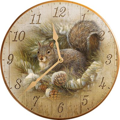 These decorative clocks will complete your outdoor-themed room. The Pine Cone image is by Persis Clayton Weirs. The Gray Squirrel image is by Rosemary Millette. Easy-to-read numerals. Decorative hands complement the face image. Precision quartz movement. Requires one AA battery (not included). Attractive, easy-to-hang display box. Imported.Diameter: 11.Style: Pine Cone, Gray Squirrel. - $19.88