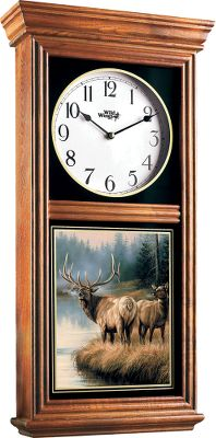 Camp and Hike These eye-catching custom-designed clocks are reminiscent of those originally used for advertising and feature exclusive full-color artwork by Wild Wings artists. Handcrafted with solid hardwood cases. Precision quartz movements. Requires one AA battery (not included). Imported. Dimensions: 24H x 12W x 4D. Style: Yellow Lab. Color: Yellow. - $129.99
