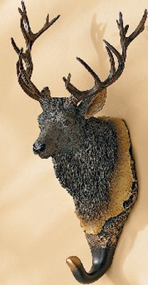 Hunting Great for kitchens, entryways and bathrooms, these wall hooks are cast from original carvings and hand-painted for realism. Double nail holes for extra strength. Dimensions: 9H x 5W x 5D. Available: Elk, Black Lab, Yellow Lab, Black Bear, Moose, Whitetail. Color: Black. - $12.88