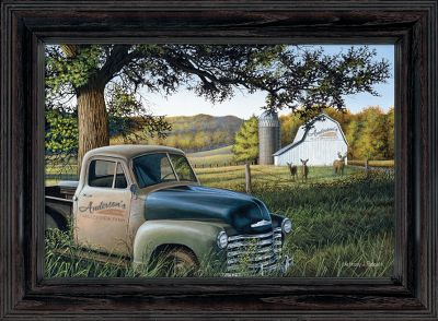 By Anthony J. Padgett. A nostalgic, personalized gift for those who love the farm. Personalize the pickup truck. For the door of the truck, specify: last name; date established; and type of service (farm, ranch, etc.). Distressed, raven-finished molding. Wild Wings exclusive. Image size: 10 x 15. Framed size: 13-3/4 x 18-3/4. Type: Miscellaneous. - $99.99