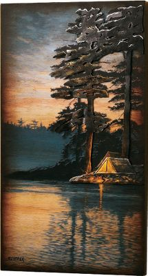 Camp and Hike Printed on wood and accented with raised, painted metal tent and campfire embellishments, this ready-to-hang 3-D panel creates a unique, custom piece of wall decor.Dimensions: 25H x 14W x 1-1/2D. - $89.99
