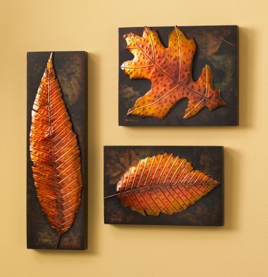 Hand-painted, stamped-metal elements pop off the background. Backgrounds are printed on 1-1/8 thick board with black edging. Leaves make for a contemporary and dramatic presentation you can arrange anyway you desire. Arrives ready to hang. No framing needed.Dimensions: Birch Leaf: 12-1/2L x 8W x 1-1/2D Willow Leaf: 6W x 20L x 1-1/2D Oak Leaf: 12L x 10W x 2D Color: Black. - $129.99