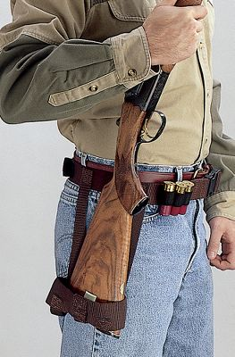 Eliminate sore arms and shoulders that result from a long day lugging your shotgun or rifle through the field. This ingenious device relieves the weight of your gun by displacing it to your hip rather than your arms. Yet, it keeps your firearm in the ready position, so you can quickly and accurately take aim and fire. Fits comfortably around your waist with a web belt and quick-release buckle with six shell loops and adjusts for any size waist. Extremely durable, it's sure to become your favorite accessory when you're in the field. - $19.99