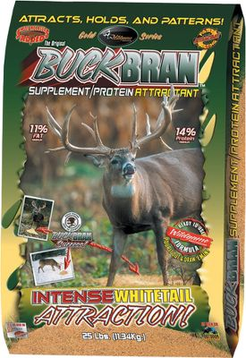 Hunting The high protein and fat content of Buck Bran provides optimal nutrients to take deer to the next level of development. This easily digested, high-protein and high-energy nutrition has a taste that deer crave. The extruded rice bran, cracked corn, soybean meal, vitamins, minerals and molasses provide maximum nutritional value while attracting high numbers of deer. Can be fed straight or mixed with grain or feed. 25-lb. bag. - $24.99