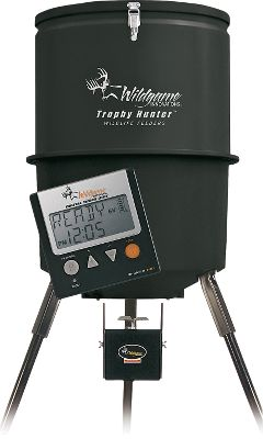 Hunting A durable, 40-gallon polypropylene hopper holds up to 300 lbs. Built-in funnel reduces waste. Easy-to-assemble, three-piece feeder unit with 12-piece, powder-coated leg-extension kit. The 6-volt digital power control unit houses state-of-the-art digital controls in a durable, powder-coated metal box. Program for up to four feed times with feed durations from 1 to 20 seconds. Metal spinner plate. 6-volt battery (not included). Type: Standing Feeders. - $139.99