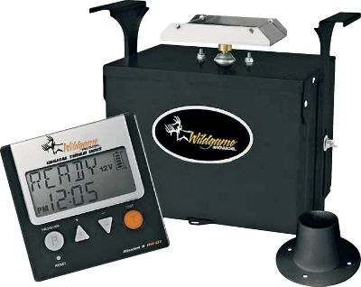 Hunting Quick, easy-to-use digital controls provides six available feed times with a duration of one to 30 seconds. Full-coverage 360 dispersal with a 30-ft. range. Powder-coated, galvanized-steel case. Galvanized-steel spinner plate. 2 drop funnel. Requires 12-volt battery (not included). - $89.99