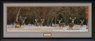 Camp and Hike The Snow Pack is the second release of a Series of Prints The Whitetail Super 6 Series by Digital Artist George Barnett. Each scene is a Digital Composite that includes six huge whitetail bucks previously showcased in George Barnetts outstanding Calendar, the Whitetail Super Bucks. The Snow Pack, the second release in the series, is a beautiful winter scene featuring six magnificent bucks scoring between 220 and 275 gross BC inches. This artwork contains over 70 images and took over 200 hours to complete. The snowy morning is punctuated by beautiful fall colors still remaining in the tree. In addition, a portion of the proceeds from the sale of this image will go directly to Camp Patriot, an organization that gives disabled US military veterans an opportunity to participate in life-changing outdoor adventures. The handsome wood frame complements the gorgeous earth-tone colors. Hanger and glass included. A portion of the proceeds are donated to Camp Patriot, an organization that gives disabled veterans the opportunity to experience outdoor adventures.Frame Dimensions: 19H x 43W. - $149.99