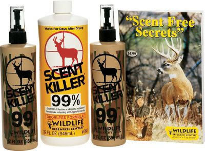 Hunting Scent Killer was the first odorless scent eliminator available to hunters. Wildlife Research Center has done extensive field testing and lab testing on Scent Killer with amazing results. In fact, Scent Killer was found to be over 99% effective at stopping replicated human odor in testing. Scent Killer eliminates human scent at the molecular level on contact. It keeps human odor from forming a gas, so there is no smell. Scent Killer is totally odorless when you put it on and keeps you odorless even after it dries. It is so effective, it works for days. Add it liberally to clothing and boots. After allowing your hunting garments to dry, store them in a bag or airtight container for weeks or even months before use. Comes with a Scent Free Secrets book that is packed with critical information on how to beat a deer's most powerful defense, his nose. 32 pages.Kit includes: Two 12-ounce spray bottles, 32-ounce refill bottle, Scent Free Secrets book. - $10.88