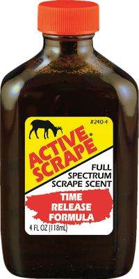 Hunting Active Scrape is the hottest scent you can use at a scrape to make that old buck go crazy. Contains buck-in-rut and doe-in-heat urines. He gets angry and sexually aroused at the same time. When used with the Scrape-Dripper, it makes an unbeatable system. Available: 4 oz. Size: 4 OZ. - $12.99