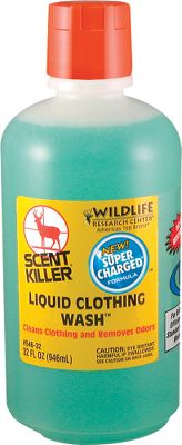 Hunting Scent Killer Clothing Wash chemically reduces odor down to the molecular level, leaving your hunting clothes odor-free. Biodegradable, it contains no UV-brighteners. Available:16-oz. powder 16-oz. liquid 48-oz. powder 32-oz. liquid - $12.99