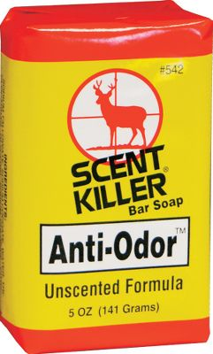 Hunting Scent Killer Bar Soap helps wash human odors off your body. It is biodegradable and is made with a special non-scented formula. 5-oz. bar. - $4.88